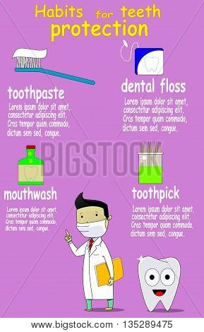 Dental care and health vector infographic with dentist, cartoon tooth, toothpick, toothpaste, dental floss, mothwash