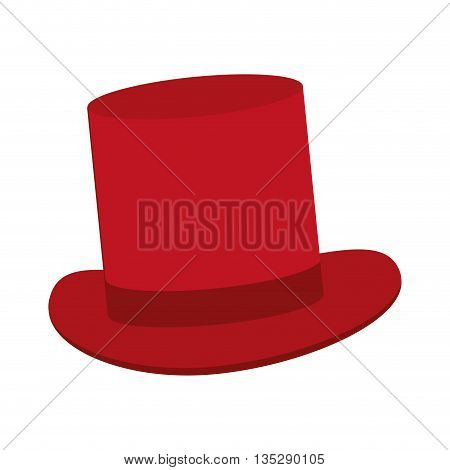 red classic tophat vector illustration flat icon style