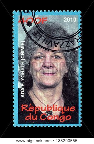 CONGO - CIRCA 2010 : Cancelled postage stamp printed by Congo, that shows Ada Yonath.