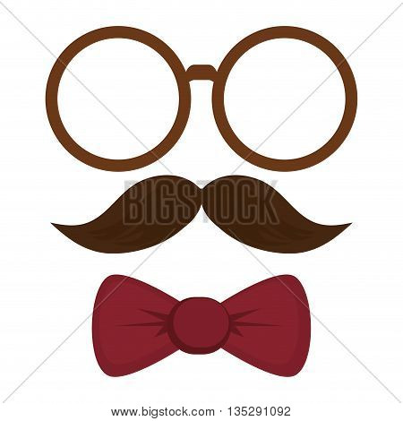 classic round frame glasses mustache bowtie vector illustration