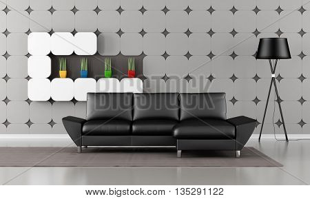 Modern Living Room With Black Sofa