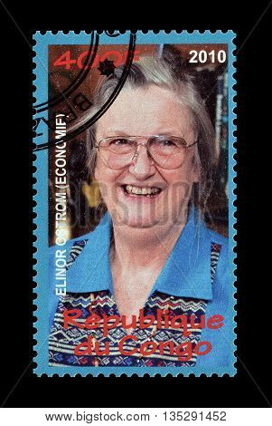 CONGO - CIRCA 2010 : Cancelled postage stamp printed by Congo, that shows Elinor Ostrom.