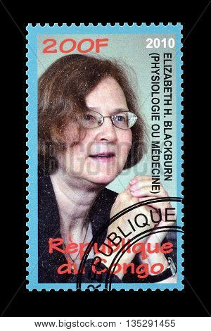 CONGO - CIRCA 2010 : Cancelled postage stamp printed by Congo, that shows Elizabeth Blackburn.