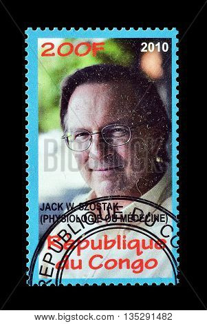 CONGO - CIRCA 2010 : Cancelled postage stamp printed by Congo, that shows Jack Szotsak.