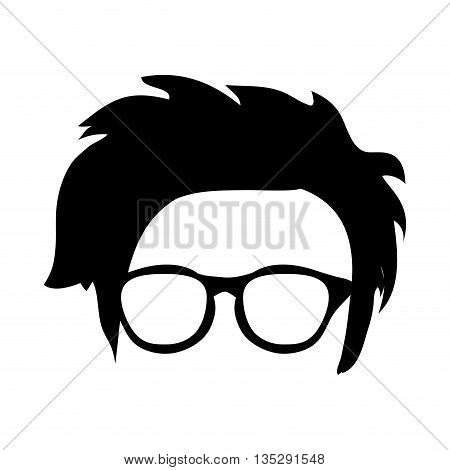 hipster shabby hair with glasses and vector illustration