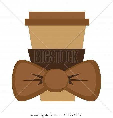 disposable coffee cup with lid and bowtie vector illustration