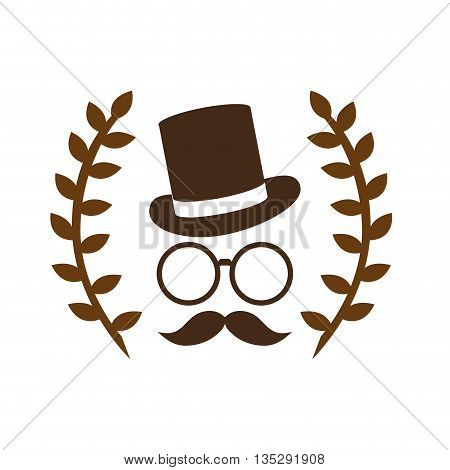 hipster face and hat with two laurel wreath vector illustration