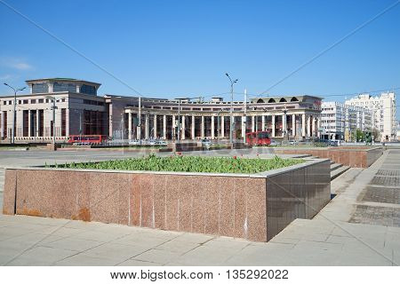 KAZAN, RUSSIA - MAY 02, 2016: View of the building of the Kazan (Volga region) Federal University, sunny may day. Historical landmark of the city Kazan, Tatarstan