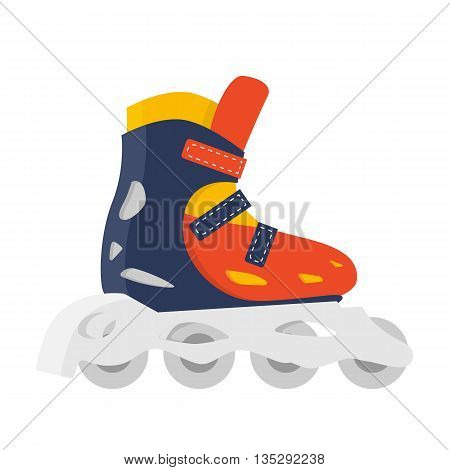 Roller Skate isolated vector. Outdoor fun summer lifestyle. Roller skating illustration. Red shoe. Summer fitness red accessories. Sport recreation symbol