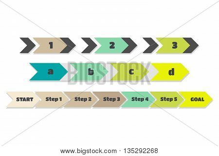 vector infographics colorful arrows with steps on white