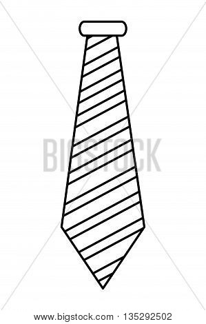 simple black line striped necktie vector illustration