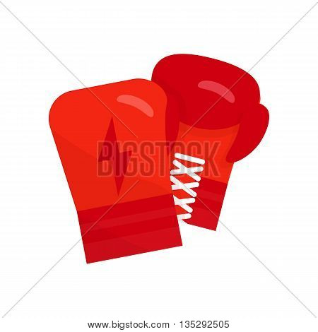 Boxing gloves vector illustration. Boxing gloves flat icon. Boxing gloves hanging. Red boxing gloves isolated on white background. Boxing equipment with lightning