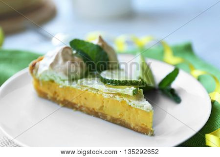 Tasty lime cake slice, close up