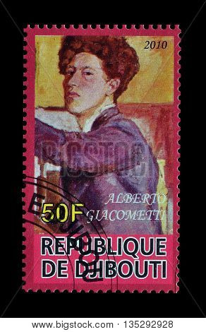 DJIBOUTI - CIRCA 2010 : Cancelled postage stamp printed by Djibouti, that shows painting by Alberto Giacometti.