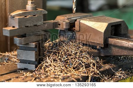 Manufacturing Of Parts On A Drill Press. Metal, Drilling Holes.