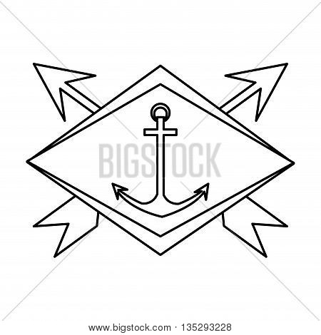 simple black line anchor in center of emblem with two crossed arrows in the background vector illustration