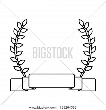 simple black line banner with laurel wreath vector illustration