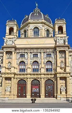 Vienna, Austria- 30 August, 2015 : Museum of Natural History (Naturhistorisches Museum) in Vienna on 30 August in Vienna, Austria opened in 1889, was built for collections of natural exhibits Habsburg