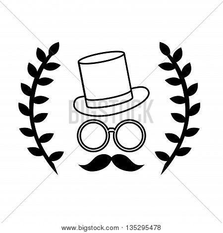 hipster face with two laurel wreath vector illustration