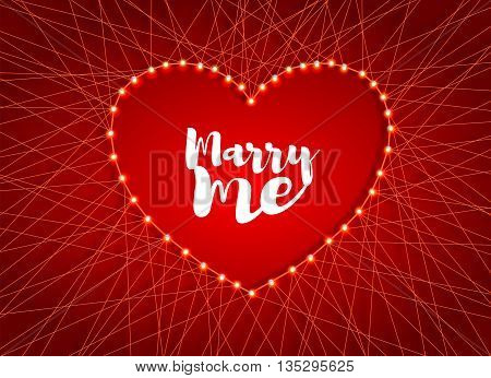 Decorative card for the holiday of Valentine's day. Beautiful heart of luminous garlands, threads and nails with wishes for bride. Vector illustration.