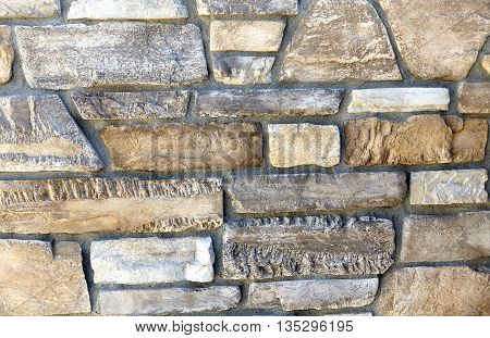 Decorative Limestone Rock Ledge Wall Closeup