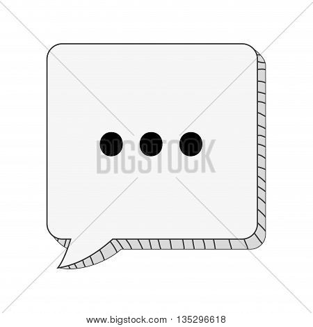 square conversation bubble with three dots vector illustration