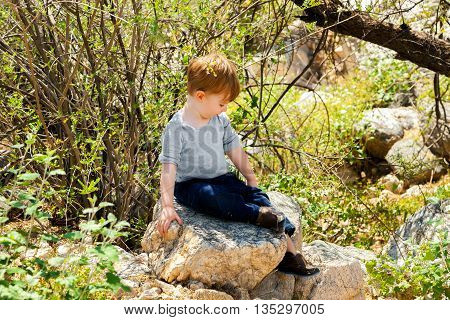 A little boy sits on a rock in the blooming Arizona desert. He is looking down and is proud of himself for having climbed up the rock.