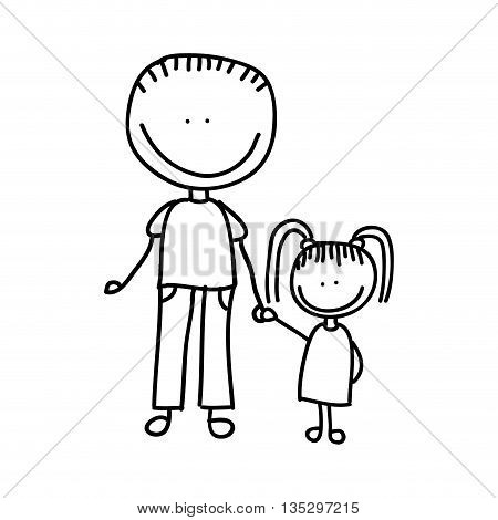 father with daughter drawing  isolated icon design, vector illustration  graphic