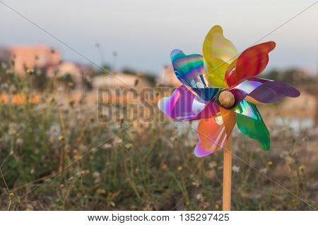The colorfully Pinwheel Power toy in The Park