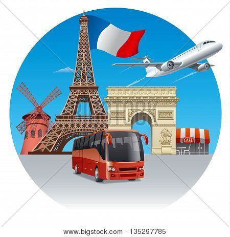 concept illustration of travel and tour in france and paris by bus and airplane
