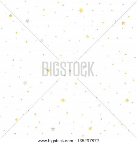 Seamless star pattern. Silver and golden stars on white background. Tileable vector texture.