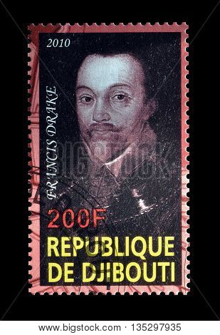 DJIBOUTI - CIRCA 2010 : Cancelled postage stamp printed by Djibouti, that shows Francis Drake.