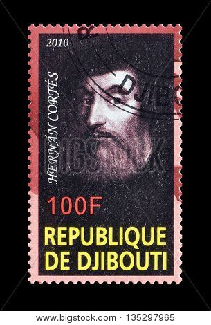 DJIBOUTI - CIRCA 2010 : Cancelled postage stamp printed by Djibouti, that shows Hernan Cortes.