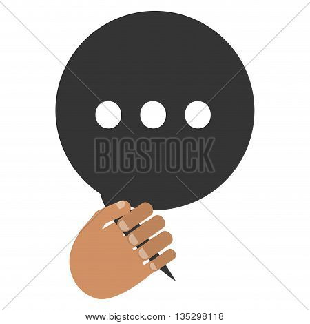 tan hand holding black round conversation bubble with three dots inside vector illustration