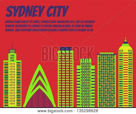 Vector template banner for website header, advertisement. Vector flat city for banner, illustration, background, game. Flat city for presentations, poster. Colorful Sydney