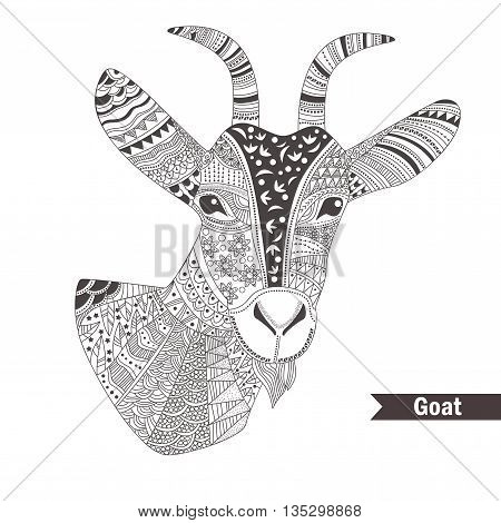 Goat. oloring book for adult, antistress coloring pages. Hand drawn vector isolated illustration on white background. Henna mehendi, tattoo sketch