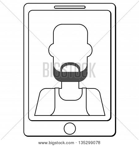cellphone with bearded bald man with sleeveless top on screen vector illustration