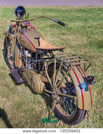 GROSSE POINTE SHORES MI/USA - JUNE 19 2016: A 1926 Harley-Davidson JD motorcycle at the EyesOn Design car show, held at the Edsel and Eleanor Ford House, near Detroit, Michigan.