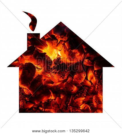 Hot coal shaped in a small house.