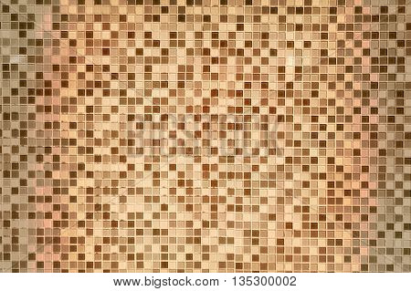 Mosaic Background in Vintage Retro Style in Dark Yellow Colors