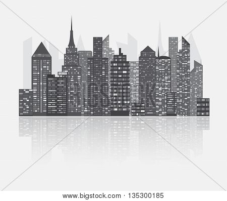 Realistic detailed urban view with skyscrapers. Plenty of bigg skyscrapers with many glowing in the night windows. Cityscape grey skyline.