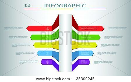Business infographics template for presentation.Trend bar Infographic.Infographic colored steps.Vector infographic composition.Modern Design template.