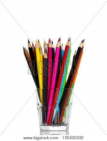 Colour pencils isolated on white background close up.