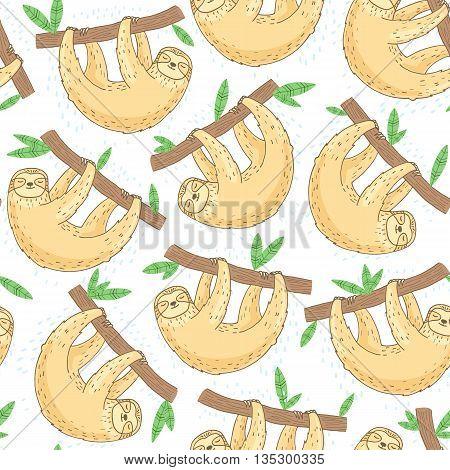 Hand drawn sloth seamless pattern on white background