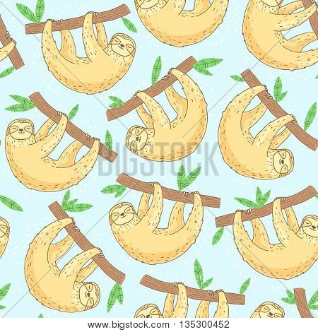 colorful hand drawn sloth seamless pattern on blue background