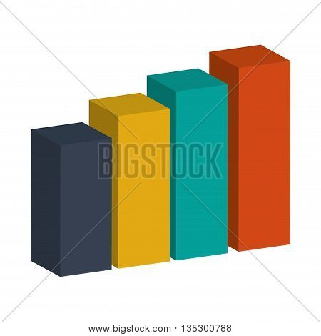 colored bar graph 3d vector illustration flat style design