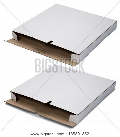 Open flat white cardboard box. Isolated on the white background. With shadow and without.