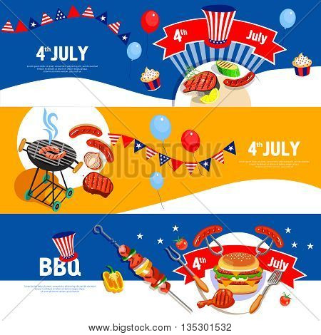 Independence day july fourth celebration bbq party 3 flat colorful horizontal banners set abstract isolated vector illustration