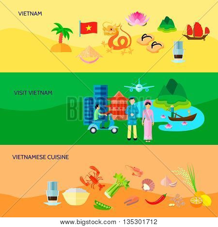 Vietnamese national symbols cuisine and sightseeing for tourists 3 flat horizontal banners set abstract isolated vector illustration