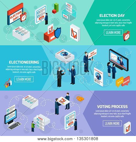 Elections and voting isometric horizontal banners with electioneering election day and voting process icons set flat vector illustration